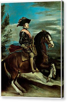 Equestrian Portriat Of King Philip Iv Of Spain Canvas Print