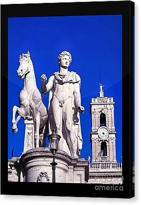 Equestrian Statue At Capitoline Hill Canvas Print by Stefano Senise