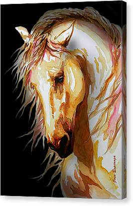Equus In Black Canvas Print by J- J- Espinoza