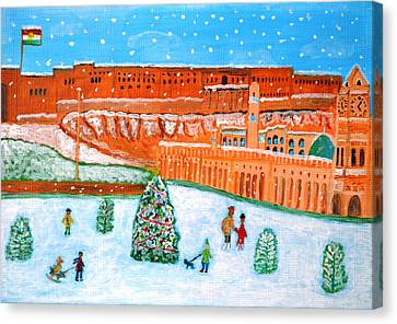 Canvas Print featuring the painting Erbil Citadel Christmas  by Magdalena Frohnsdorff