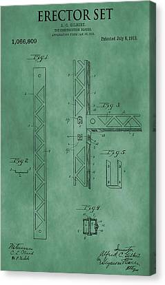 Erector Set Patent Green Canvas Print
