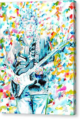 Eric Clapton - Watercolor Portrait Canvas Print by Fabrizio Cassetta