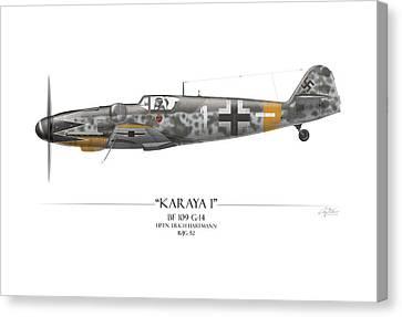 Erich Hartmann Messerschmitt Bf-109 - White Background Canvas Print