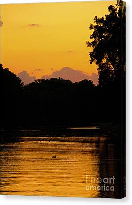Erie Canal Sunset Canvas Print by Steve Clough