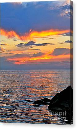 Canvas Print featuring the photograph Erie Sunset by Jay Nodianos