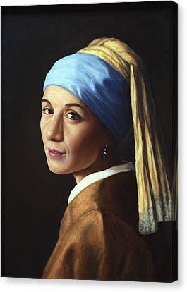 Erika With A Pearl Earring Canvas Print by James W Johnson