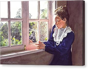 Erin Foster Waiting For Daddy Canvas Print by David Lloyd Glover