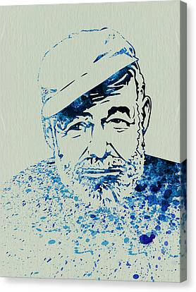 Ernest Hemingway Watercolor Canvas Print
