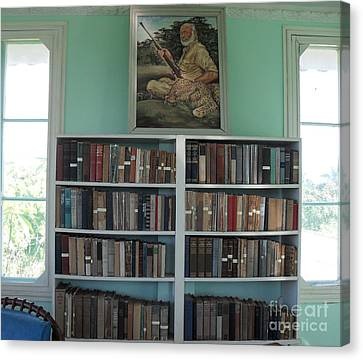 Ernest Hemmingway's Library In Cuba Canvas Print by Iris Gelbart