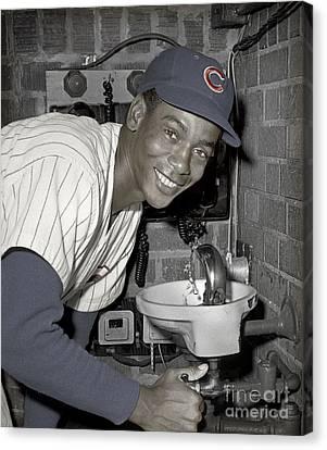 Ernie Banks At Cubs Water Fountain Canvas Print by Martin Konopacki Restoration