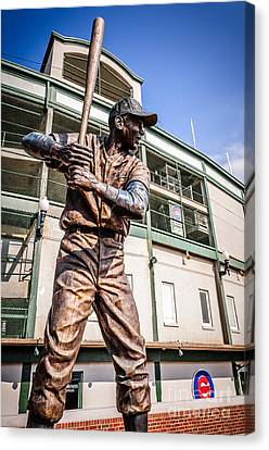 Ernie Banks Statue At Wrigley Field  Canvas Print by Paul Velgos