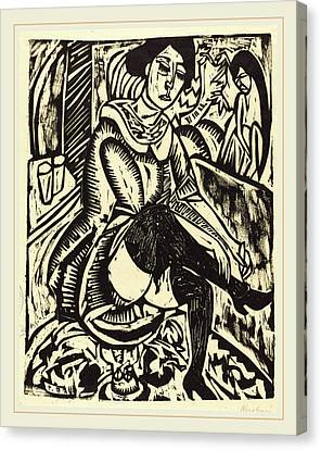 Tying Shoe Canvas Print - Ernst Ludwig Kirchner, Woman Tying Her Shoe Frau by Litz Collection