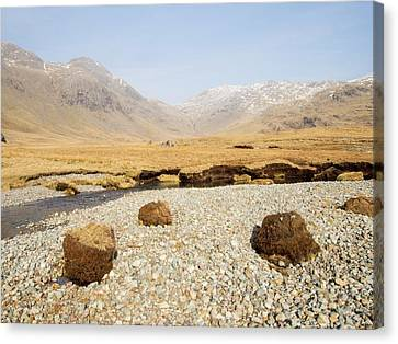 Eroded Peat On River Esk Canvas Print