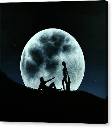 Canvas Print featuring the painting Eros Under A Full Moon Rising by Ric Nagualero