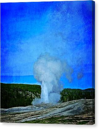 Eruption In Yellowstone Canvas Print by Dan Sproul
