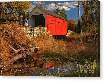 Erwinna Covered Bridge Reflections Canvas Print by Adam Jewell
