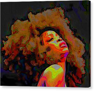 Contemporary Digital Art Canvas Print - Erykah Badu by Fli Art