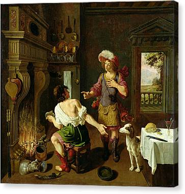 Esau Selling His Birthright To Jacob Canvas Print by Michel Corneille