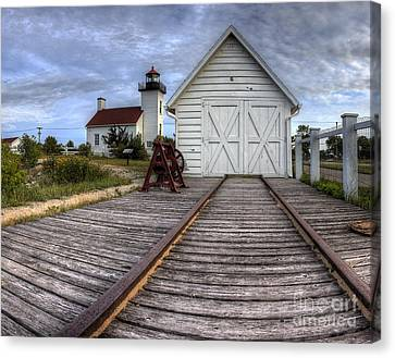 Escanaba Lighthouse And Boat House Canvas Print by Twenty Two North Photography