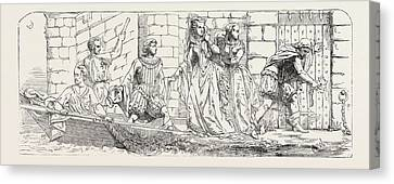 Escape Of Mary Queen Of Scots From Lochleven Bronze Canvas Print by English School