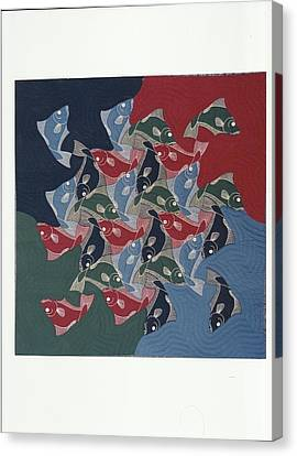 Eschers Fishes Quilt Canvas Print by Bruce Combs - REACH BEYOND
