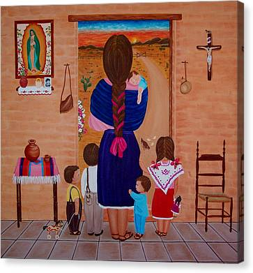 Canvas Print featuring the painting Esperando A Papa by Evangelina Portillo