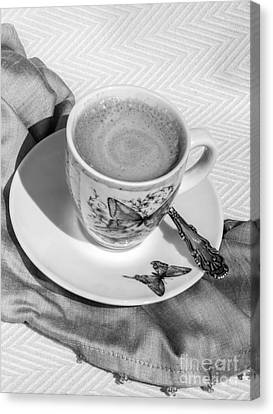 Espresso In Butterfly Cup In Black And White Canvas Print by Iris Richardson