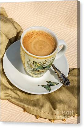 Espresso In Butterfly Cup Canvas Print by Iris Richardson