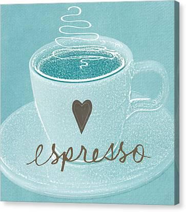Espresso Love In Light Blue Canvas Print