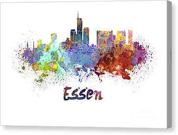 Essen Skyline In Watercolor Canvas Print