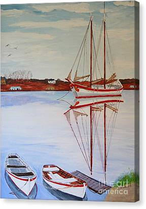 Essex Harbor Reflections Canvas Print by Bill Hubbard