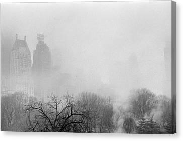 Nyc Canvas Print - Essex House And Central Park Fog by Dave Beckerman