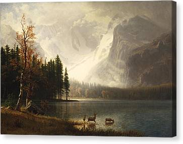 Estes Park Colorado Whytes Lake Canvas Print by Albert Bierstadt