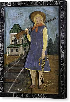 Canvas Print featuring the painting Esther Olson - Sharp Shooter by Eric Cunningham
