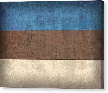 Estonia Flag Vintage Distressed Finish Canvas Print by Design Turnpike