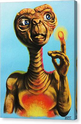 Glowing Canvas Print - E.t. The Extra Terrestrial  by Brent Andrew Doty