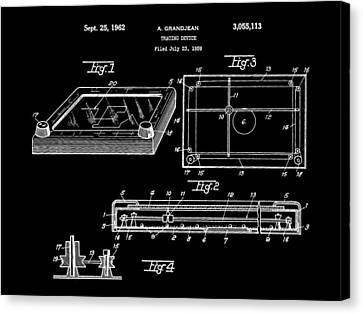 Etch A Sketch Canvas Print - Etch A Sketch Patent 1959 - Black by Stephen Younts