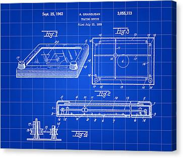 Etch A Sketch Canvas Print - Etch A Sketch Patent 1959 - Blue by Stephen Younts