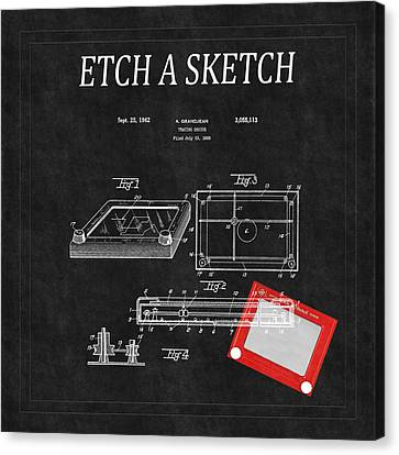Etch A Sketch Canvas Print - Etch A Sketch Patent 3 by Andrew Fare