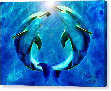 Dolphin Canvas Print - Eternal Dolphin Love by Michael Durst