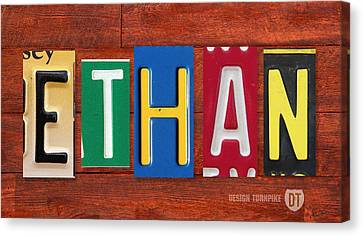 Ethan License Plate Name Sign Fun Kid Room Decor. Canvas Print by Design Turnpike