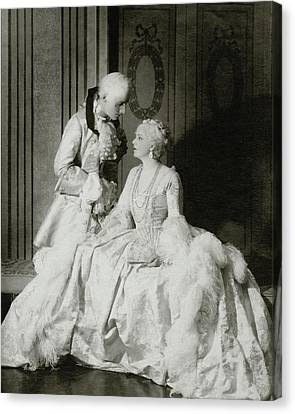 Ethel Barrymore And Henry Daniel In Costume Canvas Print by Francis Bruguiere