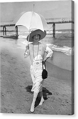 Ethel Levey On The Beach Canvas Print by Underwood Archives