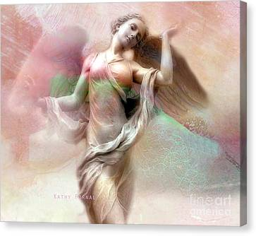 Ethereal Dreaming Angel Art - Fantasy Angel Wings Pastel Painted Angel Art Canvas Print by Kathy Fornal