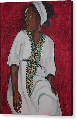 Ethiopian Woman In Red Canvas Print by Esther Newman-Cohen