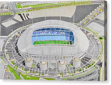 Etihad Stadia Art - Manchester City Fc Canvas Print by Brian Casey
