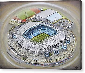 Etihad Stadium - Manchester City Canvas Print by D J Rogers
