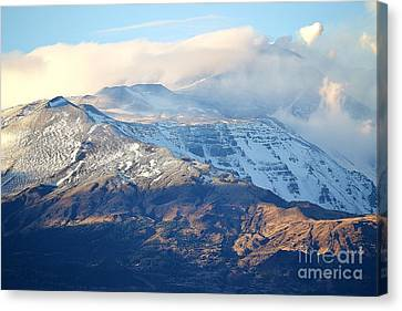 Etna With Snow Canvas Print by Kathleen Pio