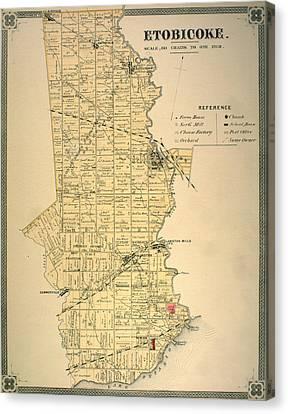 Etobicoke Map 1878 Canvas Print by Georgia Fowler