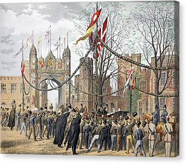 Eton Schools And The Boys Arch - Visit Canvas Print by Robert Charles Dudley